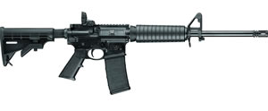 "Smith & Wesson M&P 15 Sport II Rifle 10202, 5.56 NATO, 16"" BBL, Semi-Auto, Adj Stock, Adj A2 Post/Magpul MBUS Rear Sights, 30 Rds"
