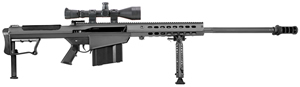 "Barrett M107A1 Rifle Package 14018, .50 BMG, 29"" Fluted Chrome-Lined BBL, Semi-Auto, Bipod/Monopod, Back-Up Sights, Black Cerakote Finish, w/Leupold Mark 4 Scope/Barrett Rings, 10 Rds"