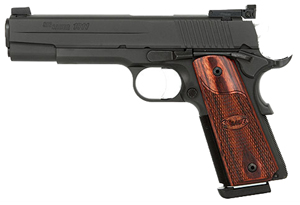 "Sig Sauer 1911 Target Nitron Pistol 1911M-45-B-TGT, Full Size, 45 ACP, 5"" Barrel, SAO, Rosewood Grips, Nitron Finish, 8 + 1 Rd, MA Compliant"