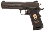 "Sig Sauer 1911 Spartan Pistol 1911-45-SPARTAN, Full Size, 45 ACP, 5"" Barrel, SAO, Hogue Spartan Grips, Oil Bronze Nitron Finish, 8 + 1 Rd, w/ 24kt Gold Inlay Engraving"