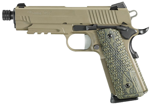 "Sig Sauer 1911 Carry Scorpion TB Pistol 1911CAR-45-SCPN-TB, Carry, 45 ACP, 4.2"" Barrel, SAO, Hogue G10 Grips + Magwell, FDE Finish, 8 + 1 Rd, w/ Rail and Threaded Barrel"