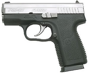 Kahr PM45 Semi-Auto Pistol PM4543N, 45 ACP, 3.14 in, Matte Stainless / Black Poly, 5+1 Rd, 2 Mags, Night Sights