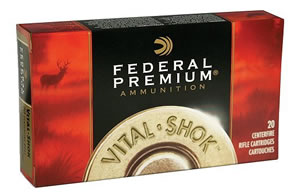 Federal Premium Vital Shok Ammunition P22250B, 22-250 Remington, Sierra GameKing BTHP, 55 GR, 3680 fps, 20 Rd/bx