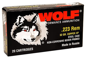 Wolf Rifle Ammunition 22362HP, (50 box case), 223 Remington, Hollow Point, 62 GR, 3025 fps, 1000 rds.