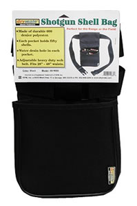 Drymate Black Shell Bag w/Heavy Duty 2 in Wide Web Belt SBWBB, Holds 50 shells