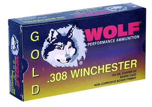 Wolf Gold Centerfire Ammunition G308SP1, 308 Winchester, Jacketed Soft Point, 150 GR, 2805 fps, 20 Rd/bx
