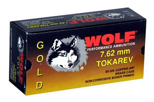 Wolf Gold Centerfire Ammunition G762TOKHP1, 7.62 MM X 25 MM Tok, Jacketed Hollow Point, 85 GR, 1591 fps, 50 Rd/bx