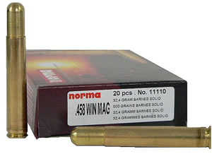 Norma Centerfire Rifle Ammunition 11110, 458 Winchester Mag, Barnes Solid, 400 GR, 2067 fps, 20 Rd/bx