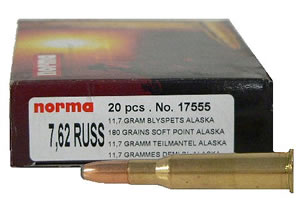 Norma Centerfire Rifle Ammunition 17555, 7.62 MM X 54 MM Russian, Soft Point Alaska, 180 GR, 2362 fps, 20 Rd/bx