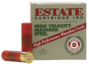 Estate High Velocity Magnum Steel HVST12M4, 12 Gauge, 3 in, 1 1/4 oz, 1425 fps, #4 Steel Shot, 25 Rd/bx, Case of 10 Boxes