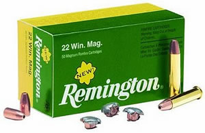 Remington Rimfire Ammunition R22M1, 22 Winchester Magnum, Jacketed Hollow Point, 40 GR, 1910 fps, 50 Rd/bx