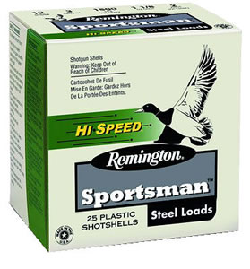 Remington Sportsman Hi-Speed Steel SSTHV12HM4, 12 Gauge, 3 in, 1 1/4 oz, 1400 fps, #4 Steel Shot, 25 Rd/bx, Case of 10 Boxes