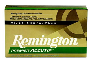 Remington Premier Accutip Rifle Ammunition PRA204A, 204 Ruger, Accutip-V, 32 GR, 4225 fps, 20 Rd/bx