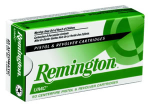 Remington UMC Handgun Ammunition L10MM6, 10 MM, Metal Case, 180 GR, 1150 fps, 50 Rd/bx