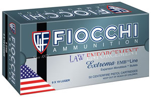 Fiocchi Ultra Police Ammunition, 9x18 mm Ultra, Metal Case, 100 GR, 1065 fps, 50 Rd/bx