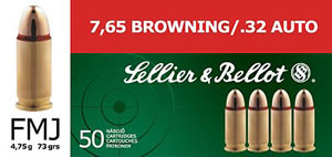 Sellier & Bellot Ammunition V310232U, 32 ACP, Full Metal Jacket, 73 GR, 900 fps, 50 Rd/bx