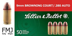 Sellier & Bellot Ammunition V310332U, 380 ACP, Full Metal Jacket, 92 GR, 990 fps, 50 Rd/bx