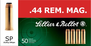 Sellier & Bellot Ammunition SB44A 44 Remington Magnum, Soft Point, 240 GR, 1180 fps, 50 Rd/bx