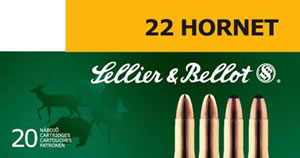 Sellier & Bellot Ammunition SB22HB 22 Hornet, Soft Point, 45 GR, 2346 fps, 20 Rd/bx