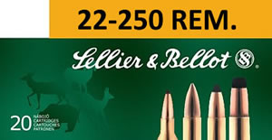 Sellier & Bellot Ammunition V330462U, 22-250 Remington, Spitzer Boat Tail, 55 GR, 3680 fps, 20 Rd/bx