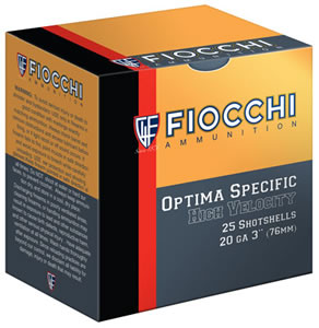 Fiocchi High Velocity Shotshells 203HV5, 20 Gauge, 3 in, 1 1/4 oz, 1220 fps, #5 Lead Shot, 25 Rd/bx, Case of 10 Boxes