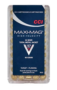 CCI Maxi Mag Rimfire Ammunition 0023, 22 Winchester Magnum, Lead Round Nose, 40 GR, 1875 fps, 50 Rd/bx