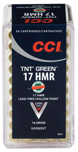 CCI TNT Green Rimfire Ammunition 951, 17 HMR, TNT Green Hollow Point, 16GR, 2500fps, 50 Rd/bx
