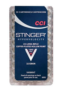 CCI Stinger Rimfire Ammunition 0050, 22 Long Rifle, Hollow Point, 32 GR, 1640 fps, 50 Rd/bx