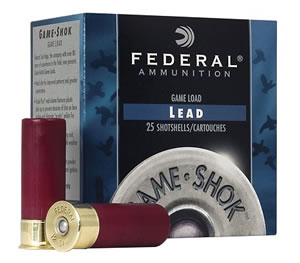 Federal Premium Game Shok High Brass H41275, 410 Gauge, 2 1/2 in, 1/2 oz, 1200 fps, #7 1/2 Lead Shot, 25 Rd/bx, Case of 10 Boxes