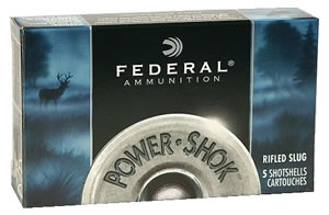 Federal Premium Power Shok F203RS, 20 Gauge, 2 3/4 in, 3/4 oz, 1600 fps, Lead Rifle Slug, 5 Rd/bx