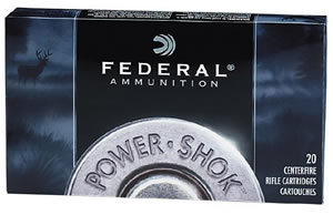 Federal Premium Power Shok Ammunition 270WSME, 270 WSM, Soft Point, 130 GR, 3250 fps, 20 Rd/bx