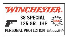 Winchester USA Centerfire Pistol Ammunition USA38SP, 38 Special, Jacketed Soft Point, 125 GR, 850 fps, 50 Rd/bx