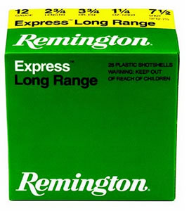 Remington Express Long Range SP124, 12 Gauge, 2 3/4 in, 1 1/4 oz, 1330 fps, #4 Lead Shot, 25 Rd/bx, Case of 10 Boxes