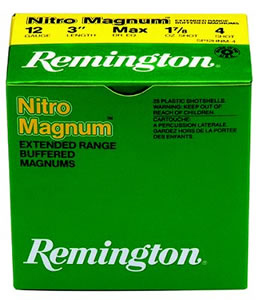 Remington Premier Nitro Magnum NM20S4, 20 Gauge, 2 3/4 in, 1 1/8 oz, 1175 fps, #4 Lead Shot, 25 Rd/bx, Case of 10 Boxes