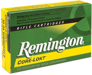Remington Centerfire Rifle Cartridges R30062, 30-06 Springfield, Core-Lokt Pointed Soft Point, 150 GR, 2660 fps, 20 Rd/bx