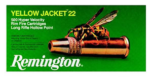 Remington Yellow Jacket Rimfire Ammunition 1700, 22 Long Rifle, Hollow Point, 33 GR, 1500 fps, 100 Rd/bx