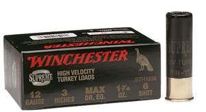 Winchester Supreme High Velocity Turkey STH124, 12 Gauge, 2 3/4 in, 1 1/2 oz, 1300 fps, #4 Copper Pltd Lead Shot, 10 Rd/bx