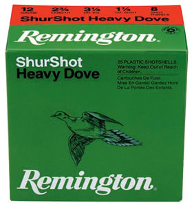Remington Shurshot Heavy Dove Loads RHD1275, 12 Gauge, 2 3/4 in, 1 1/8 oz, 1255 fps, #7 1/2 Lead Shot, 25 Rd/bx, Case of 10 Boxes