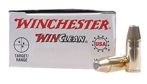 Winchester WinClean Handgun Ammunition WC91, 9 MM, Brass Enclosed Base, 115 GR, 1190 fps, 50 Rd/bx