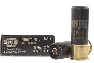 Winchester Supreme Partition Gold Slugs SSP20, 20 Gauge, 2 3/4 in, 260 grains, 1800 fps, Sabot Slug Copper/Lead, 5 Rd/bx