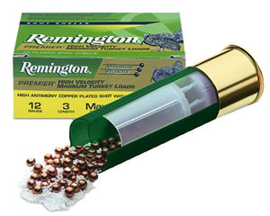 Remington Premier Heavy Magnum Turkey P12XHM4, 12 Gauge, 3 in, 2 oz, 1175 fps, #4 Copper Plated Lead Shot, 10 Rd/bx