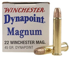 Winchester Rimfire Ammunition USA22M, 22 Winchester Magnum, Dynapoint, 45 GR, 1550 fps, 50 Rd/bx