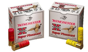 Winchester Super-X Pheasant Loads A12P4, 12 Gauge, 2 3/4 in, 1 1/4 oz, 1220 fps, #4 Lead Shot, 25 Rd/bx, Case of 10 Boxes
