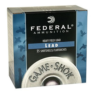 Federal Premium Game Shok Heavy Field H2028, 20 Gauge, 2 3/4 in, 1 oz, 1165 fps, #8 Lead Shot, 25 Rd/bx, Case of 10 Boxes