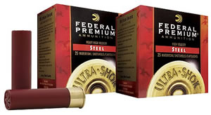 Federal Premium Ultra Shok PW1434, 12 Gauge, 3 in, 1 1/8 oz, 1550 fps, #4 Steel Shot, 25 Rd/bx