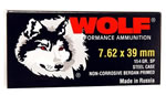 Wolf Ammo 762BSP, 7.62 X 39 MM, Soft Point, 154 GR, Bimetal, 2104 fps, 1000 Rds