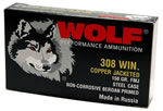 Wolf Rifle Ammunition 308CFMJ, 308 Winchester, Full Metal Jacket, 150 GR, 2800 fps, 500 Per