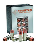 Magtech First Defense Cartridges FD40A, 40 S&W, Solid Copper Hollow Point, 130 GR, 1190 fps, 20 Rd/bx