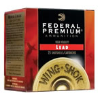 Federal Premium Wing Shok High Velocity P1386, 12 Gauge, 2 3/4 in, 1 3/8 oz, 1500 fps, #6 Lead Shot, 25 Rd/bx, Case of 10 Boxes