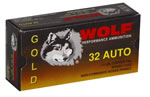 Wolf Gold Centerfire Ammunition G32HP1, 32 ACP, Jacketed Hollow Point, 71 GR, 903 fps, 50 Rd/bx
